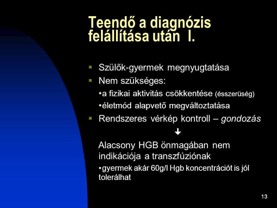 13 Teendő a diagnózis felállítása után I.  Szülők-gyermek megnyugtatása  Nem szükséges: a fizikai aktivitás csökkentése (ésszerüség) életmód alapvet