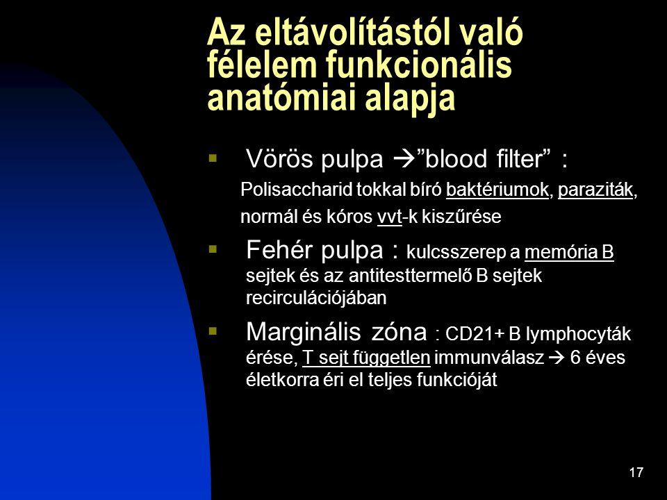 """17 Az eltávolítástól való félelem funkcionális anatómiai alapja  Vörös pulpa  """"blood filter"""" : Polisaccharid tokkal bíró baktériumok, paraziták, nor"""