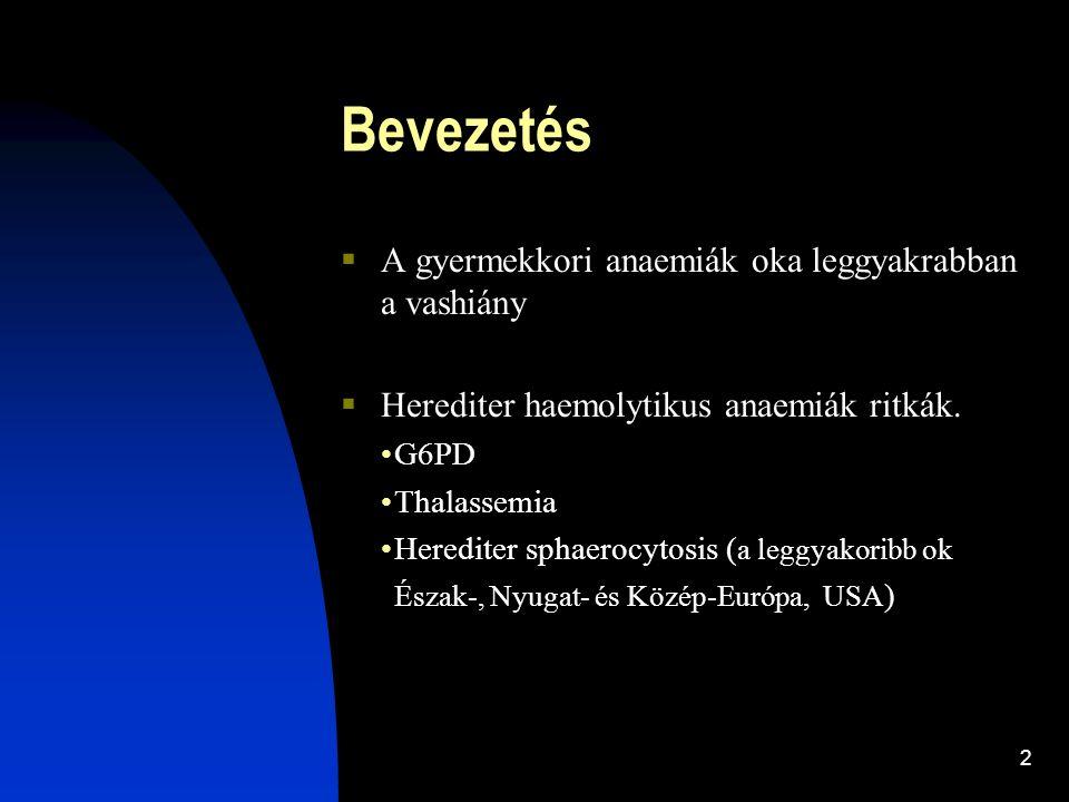 2 Bevezetés  A gyermekkori anaemiák oka leggyakrabban a vashiány  Herediter haemolytikus anaemiák ritkák. G6PD Thalassemia Herediter sphaerocytosis