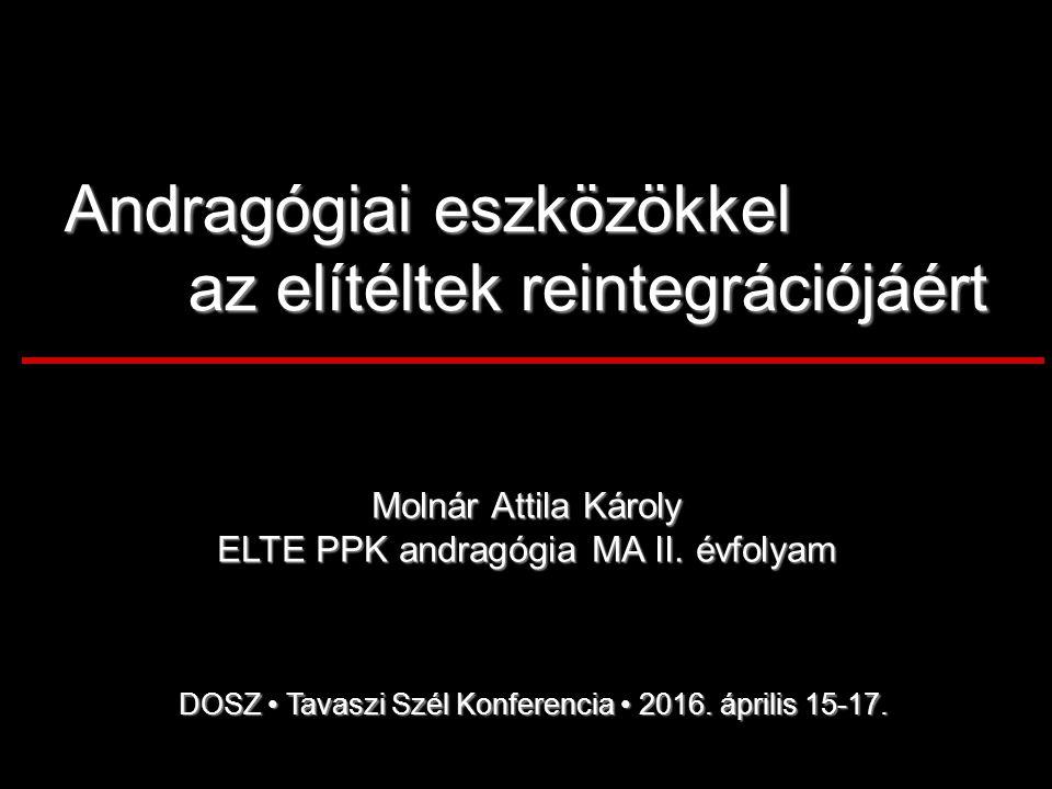 Andragógiai eszközökkel az elítéltek reintegrációjáért Molnár Attila Károly ELTE PPK andragógia MA II.