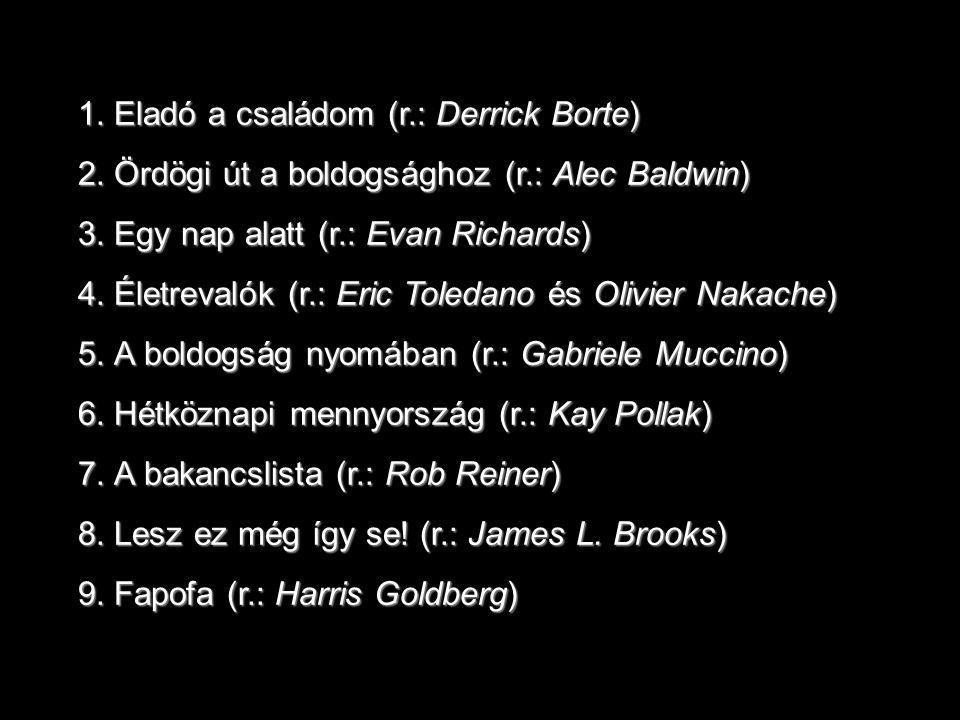 1.Eladó a családom (r.: Derrick Borte) 2.Ördögi út a boldogsághoz (r.: Alec Baldwin) 3.Egy nap alatt (r.: Evan Richards) 4.Életrevalók (r.: Eric Toledano és Olivier Nakache) 5.A boldogság nyomában (r.: Gabriele Muccino) 6.Hétköznapi mennyország (r.: Kay Pollak) 7.A bakancslista (r.: Rob Reiner) 8.Lesz ez még így se.