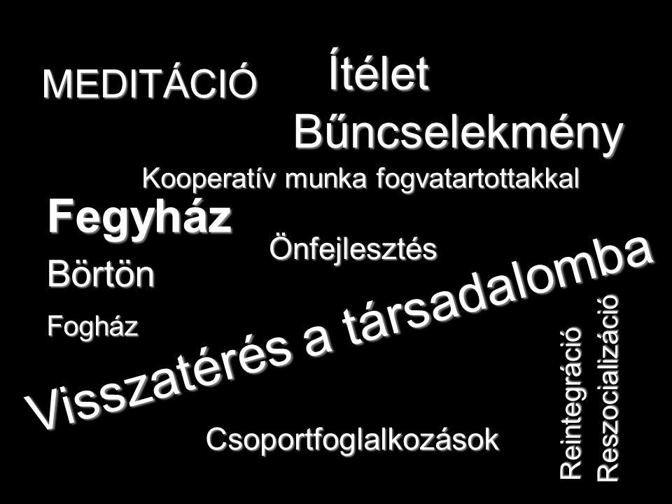Fegyház Bűncselekmény Fogház Börtön Visszatérés a társadalomba Ítélet Reintegráció Reszocializáció Kooperatív munka fogvatartottakkal Csoportfoglalkozások Önfejlesztés MEDITÁCIÓ