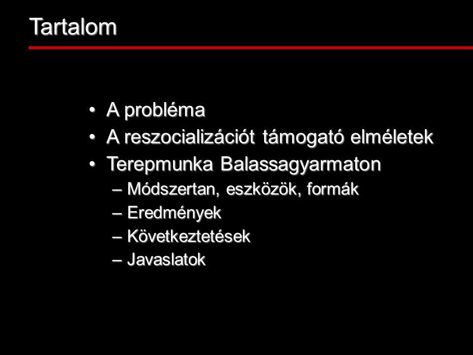Tartalom A problémaA probléma A reszocializációt támogató elméletekA reszocializációt támogató elméletek Terepmunka BalassagyarmatonTerepmunka Balassagyarmaton –Módszertan, eszközök, formák –Eredmények –Következtetések –Javaslatok
