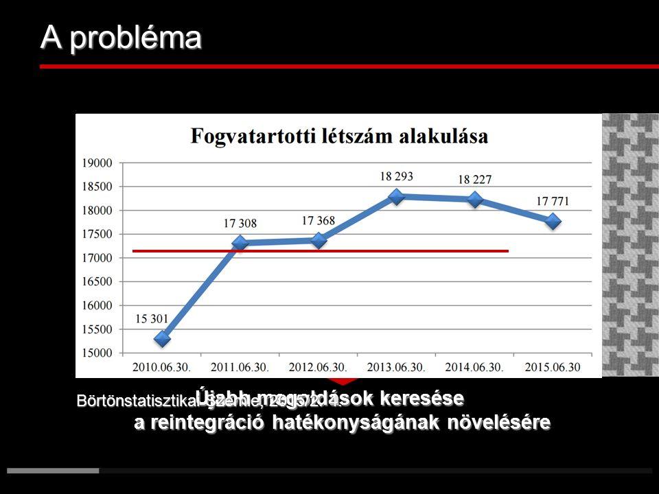 A probléma ______________ 150%-os telítettség a börtönökben Az intézmények kapacitásának határai A bv-állomány túlterheltsége A szabadultak több mint 50%-a visszaeső Az államkassza terhelése A fogvatartottak hiányoznak a munkaerőpiacról Az otthonok deficitje Újabb megoldások keresése a reintegráció hatékonyságának növelésére Börtönstatisztikai Szemle, 2015/2.