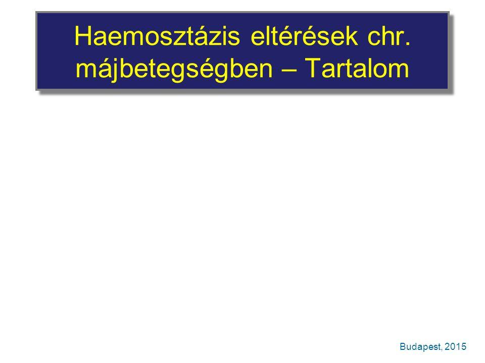 Haemosztázis eltérések chr. májbetegségben – Tartalom Budapest, 2015