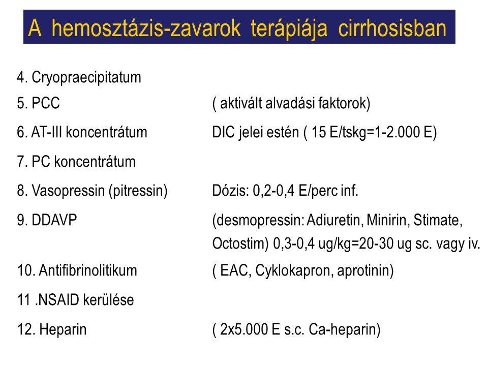 A hemosztázis-zavarok terápiája cirrhosisban 4. Cryopraecipitatum 5.