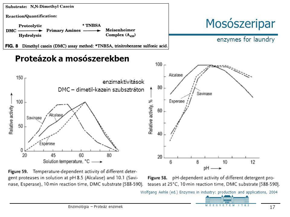 Enzimológia – Proteáz enzimek 17 Mosószeripar enzymes for laundry Proteázok a mosószerekben Wolfgang Aehle (ed.) Enzymes in industry: production and applications, 2004 enzimaktivitások DMC – dimetil-kazein szubsztráton