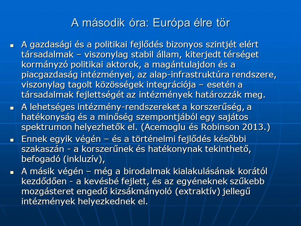 A második óra: Európa élre tör A gazdasági és a politikai fejlődés bizonyos szintjét elért társadalmak – viszonylag stabil állam, kiterjedt térséget kormányzó politikai aktorok, a magántulajdon és a piacgazdaság intézményei, az alap-infrastruktúra rendszere, viszonylag tagolt közösségek integrációja – esetén a társadalmak fejlettségét az intézmények határozzák meg.
