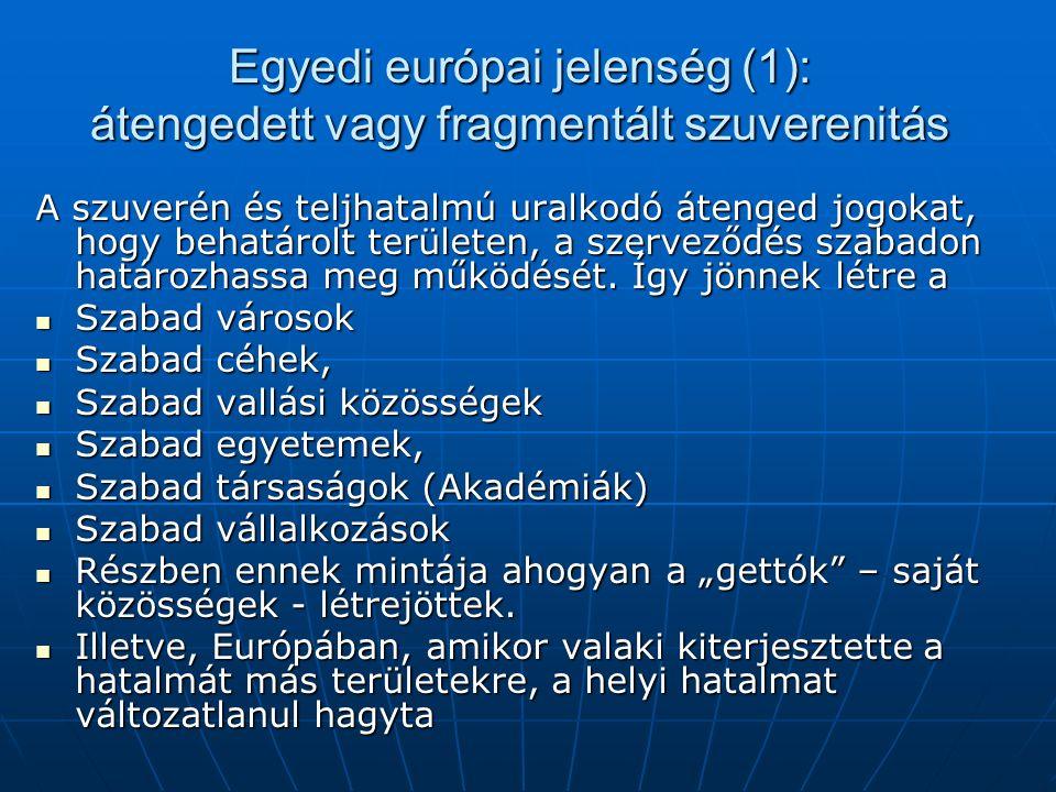 Egyedi európai jelenség (1): átengedett vagy fragmentált szuverenitás A szuverén és teljhatalmú uralkodó átenged jogokat, hogy behatárolt területen, a szerveződés szabadon határozhassa meg működését.