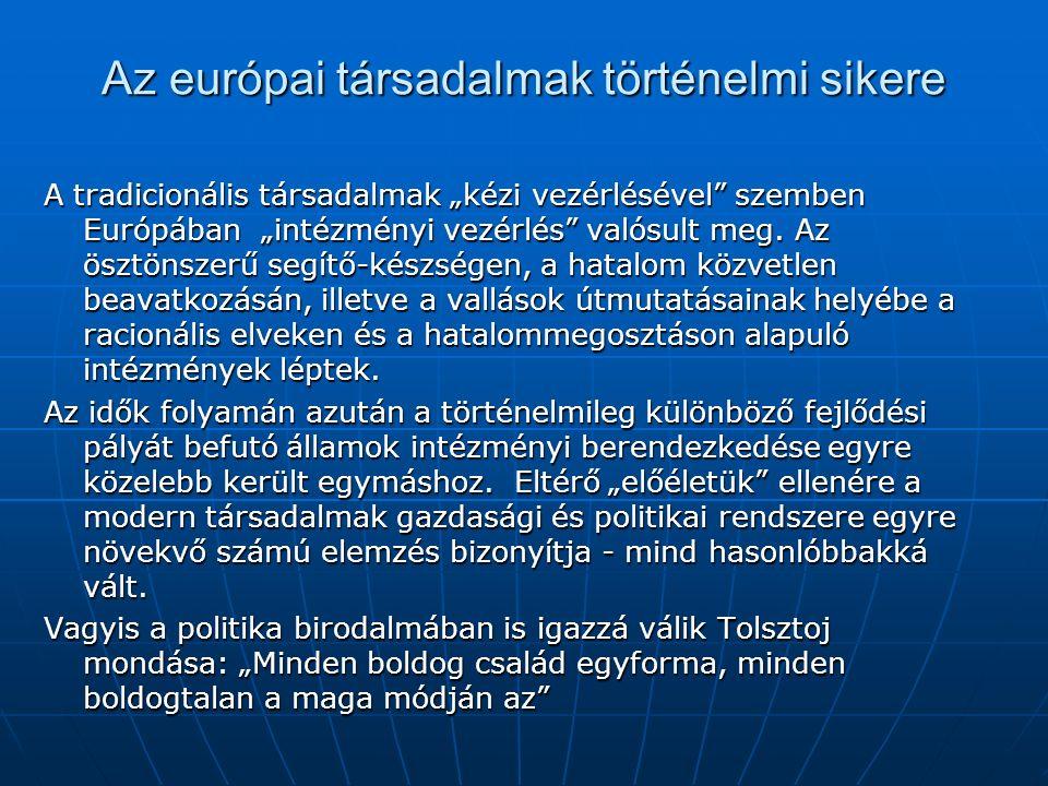 """Az európai társadalmak történelmi sikere A tradicionális társadalmak """"kézi vezérlésével"""" szemben Európában """"intézményi vezérlés"""" valósult meg. Az öszt"""
