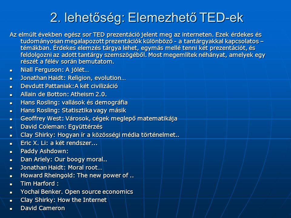 2. lehetőség: Elemezhető TED-ek Az elmúlt években egész sor TED prezentáció jelent meg az interneten. Ezek érdekes és tudományosan megalapozott prezen