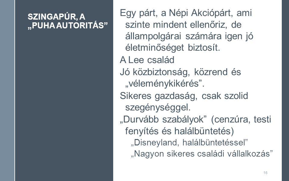 """SZINGAPÚR, A """"PUHA AUTORITÁS 16 Egy párt, a Népi Akciópárt, ami szinte mindent ellenőriz, de állampolgárai számára igen jó életminőséget biztosít."""