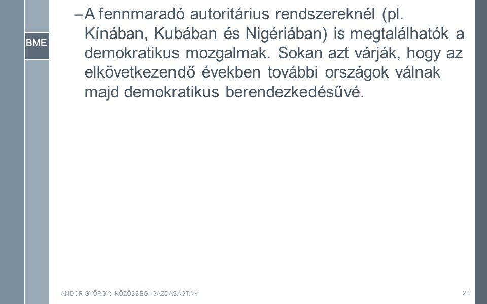 BME –A fennmaradó autoritárius rendszereknél (pl.