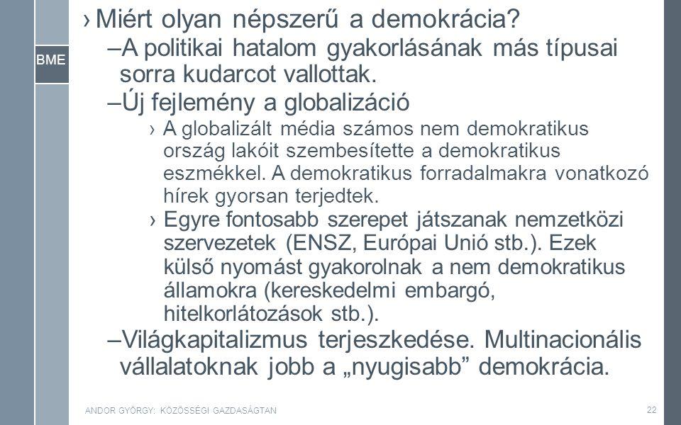 BME ›Miért olyan népszerű a demokrácia.