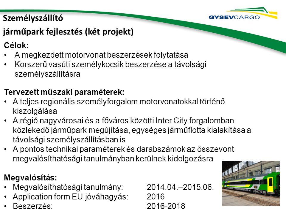 Személyszállító járműpark fejlesztés (két projekt) Célok: A megkezdett motorvonat beszerzések folytatása Korszerű vasúti személykocsik beszerzése a távolsági személyszállításra Tervezett műszaki paraméterek: A teljes regionális személyforgalom motorvonatokkal történő kiszolgálása A régió nagyvárosai és a főváros közötti Inter City forgalomban közlekedő járműpark megújítása, egységes járműflotta kialakítása a távolsági személyszállításban is A pontos technikai paraméterek és darabszámok az összevont megvalósíthatósági tanulmányban kerülnek kidolgozásra Megvalósítás: Megvalósíthatósági tanulmány: 2014.04.–2015.06.