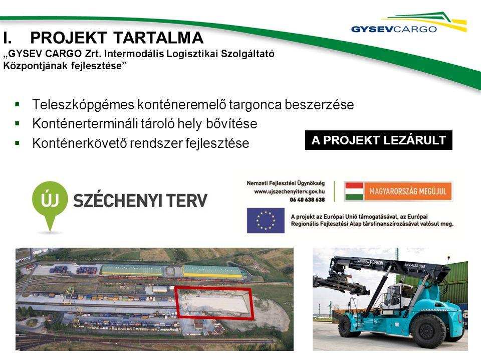 """ Teleszkópgémes konténeremelő targonca beszerzése  Konténertermináli tároló hely bővítése  Konténerkövető rendszer fejlesztése I.PROJEKT TARTALMA """"GYSEV CARGO Zrt."""