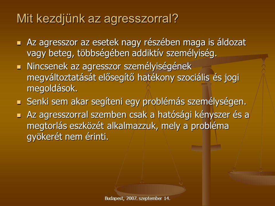 Budapest, 2007. szeptember 14. Mit kezdjünk az agresszorral.