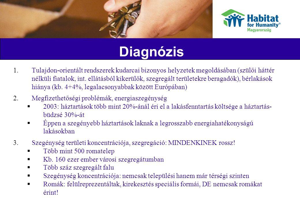 Diagnózis 1.Tulajdon-orientált rendszerek kudarcai bizonyos helyzetek megoldásában (szülői háttér nélküli fiatalok, int.