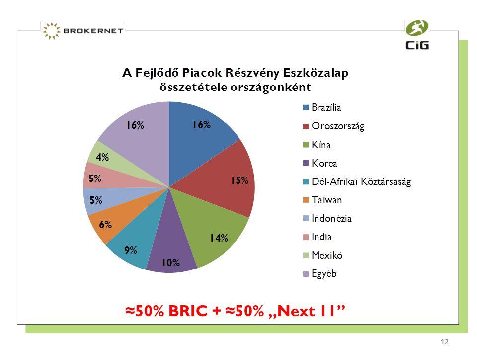 "12 ≈50% BRIC + ≈50% ""Next 11 12"