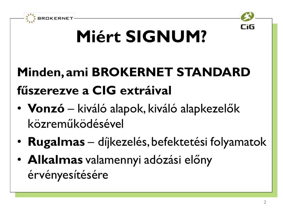 2 Minden, ami BROKERNET STANDARD fűszerezve a CIG extráival Vonzó – kiváló alapok, kiváló alapkezelők közreműködésével Rugalmas – díjkezelés, befektetési folyamatok Alkalmas valamennyi adózási előny érvényesítésére Miért SIGNUM.