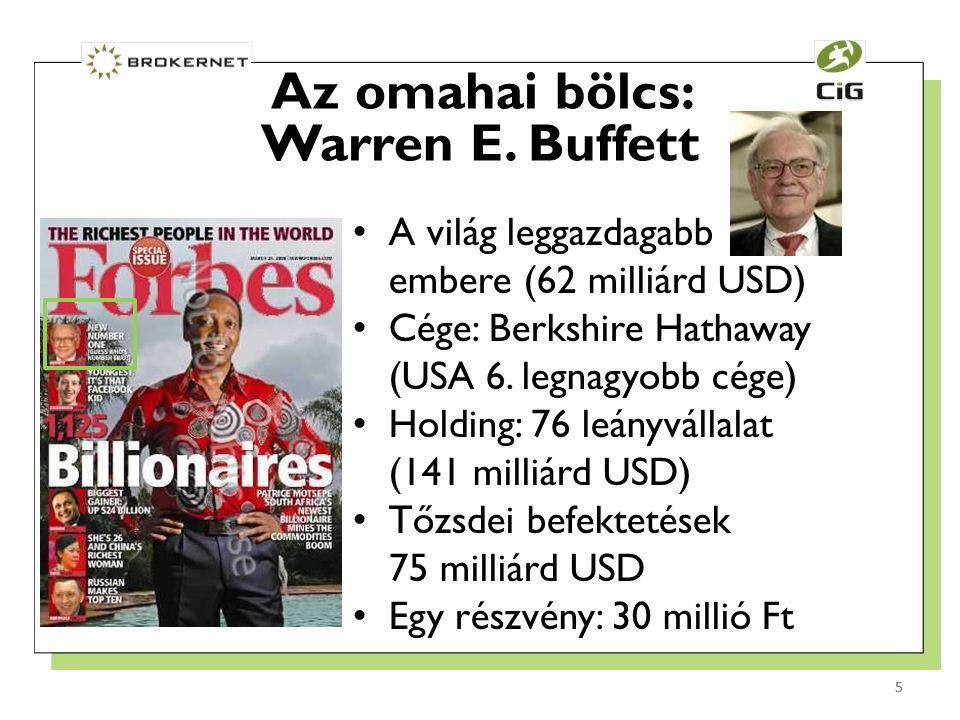 5 A világ leggazdagabb embere (62 milliárd USD) Cége: Berkshire Hathaway (USA 6.