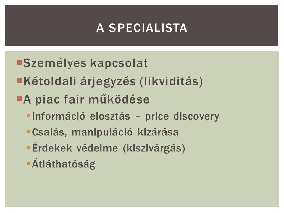  Személyes kapcsolat  Kétoldali árjegyzés (likviditás)  A piac fair működése  Információ elosztás – price discovery  Csalás, manipuláció kizárása  Érdekek védelme (kiszivárgás)  Átláthatóság A SPECIALISTA
