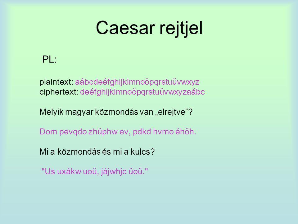 """Caesar rejtjel PL: plaintext: aábcdeéfghijklmnoöpqrstuüvwxyz ciphertext: deéfghijklmnoöpqrstuüvwxyzaábc Melyik magyar közmondás van """"elrejtve ."""