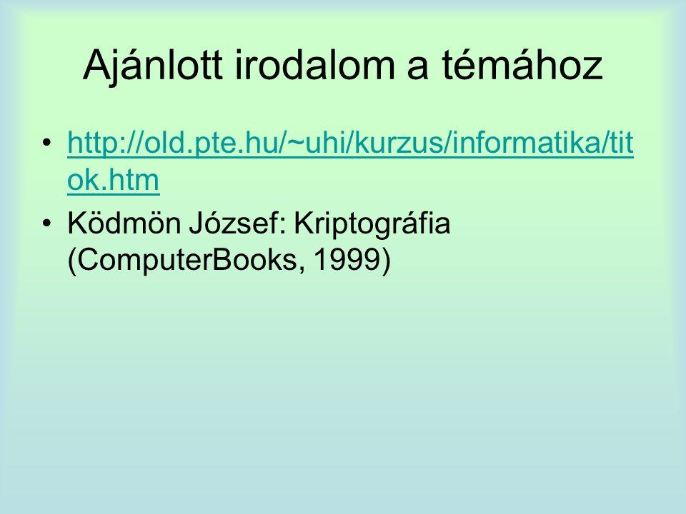 Ajánlott irodalom a témához http://old.pte.hu/~uhi/kurzus/informatika/tit ok.htmhttp://old.pte.hu/~uhi/kurzus/informatika/tit ok.htm Ködmön József: Kriptográfia (ComputerBooks, 1999)