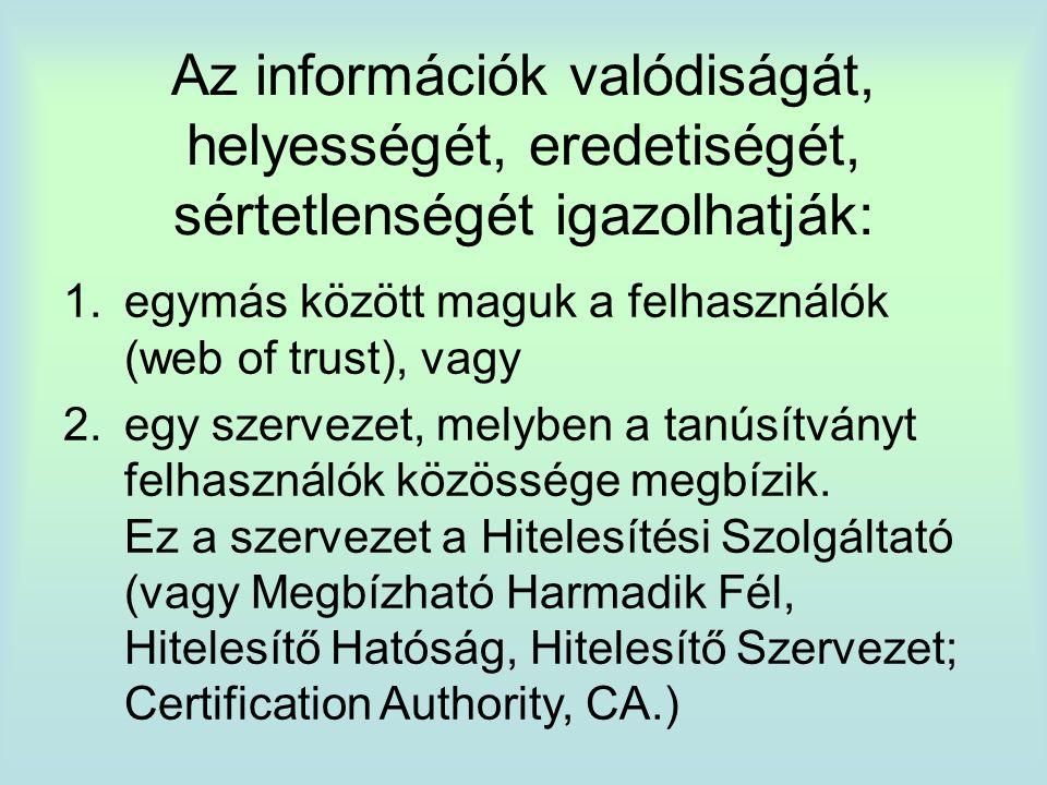 Az információk valódiságát, helyességét, eredetiségét, sértetlenségét igazolhatják: 1.egymás között maguk a felhasználók (web of trust), vagy 2.egy szervezet, melyben a tanúsítványt felhasználók közössége megbízik.