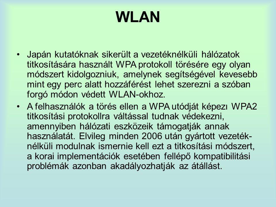 WLAN Japán kutatóknak sikerült a vezetéknélküli hálózatok titkosítására használt WPA protokoll törésére egy olyan módszert kidolgozniuk, amelynek segítségével kevesebb mint egy perc alatt hozzáférést lehet szerezni a szóban forgó módon védett WLAN-okhoz.