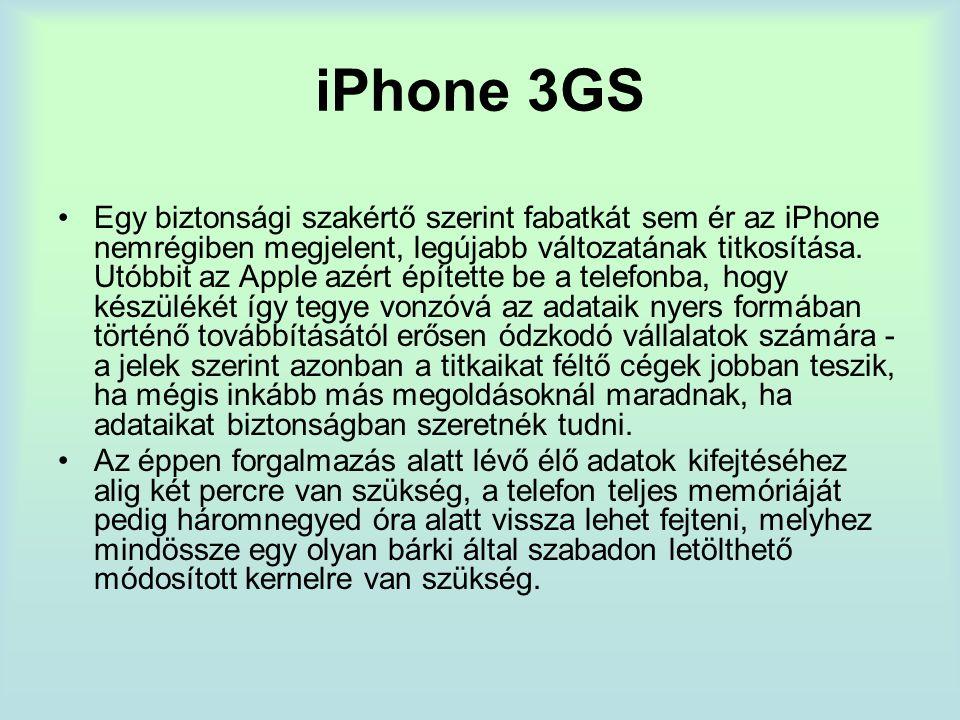 iPhone 3GS Egy biztonsági szakértő szerint fabatkát sem ér az iPhone nemrégiben megjelent, legújabb változatának titkosítása.