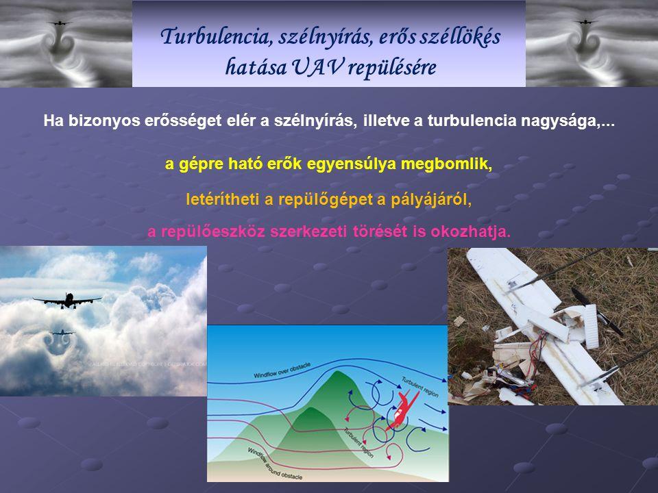 Turbulencia, szélnyírás, erős széllökés hatása UAV repülésére Ha bizonyos erősséget elér a szélnyírás, illetve a turbulencia nagysága,...