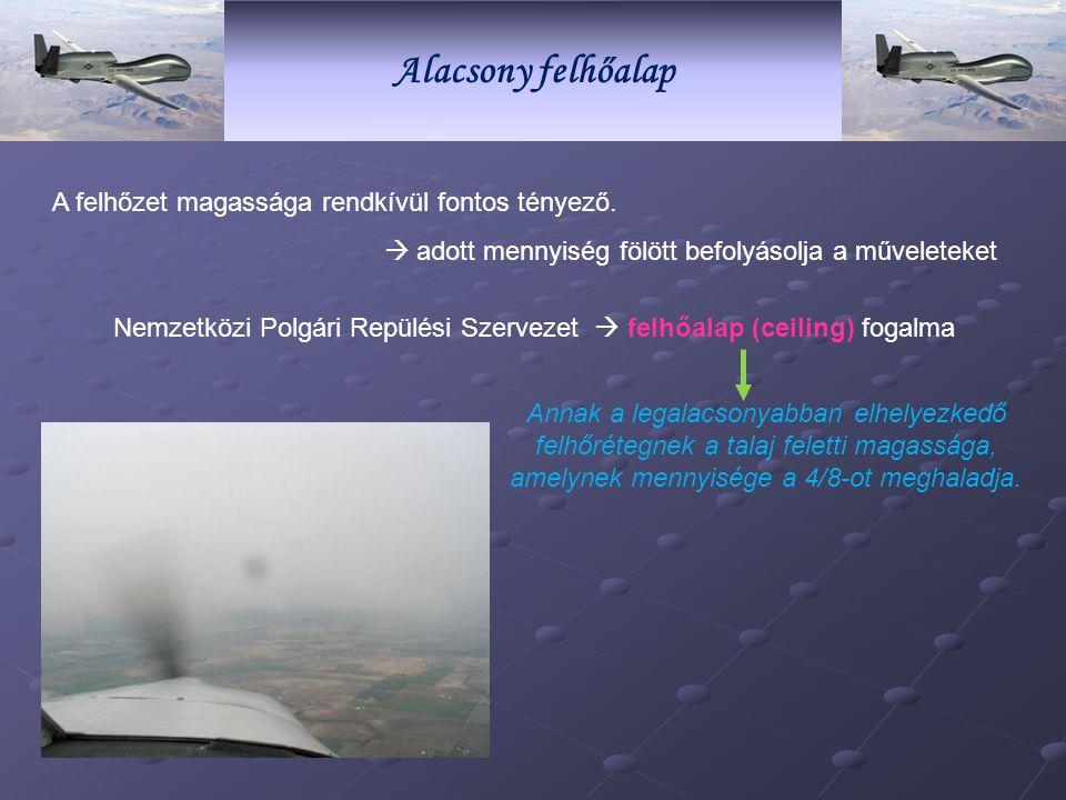 Alacsony felhőalap A felhőzet magassága rendkívül fontos tényező.