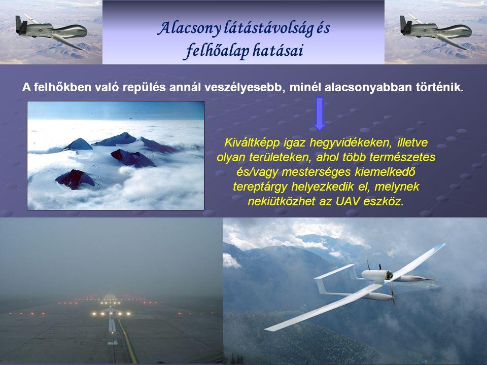Alacsony látástávolság és felhőalap hatásai A felhőkben való repülés annál veszélyesebb, minél alacsonyabban történik.