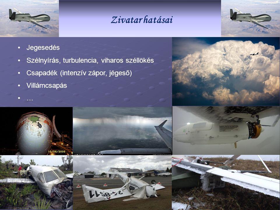 ZivatarZivatar hatásai Jegesedés Szélnyírás, turbulencia, viharos széllökés Csapadék (intenzív zápor, jégeső) Villámcsapás …