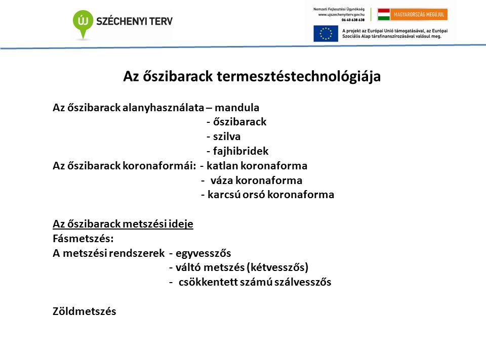 Az őszibarack termesztéstechnológiája Az őszibarack alanyhasználata – mandula - őszibarack - szilva - fajhibridek Az őszibarack koronaformái: - katlan