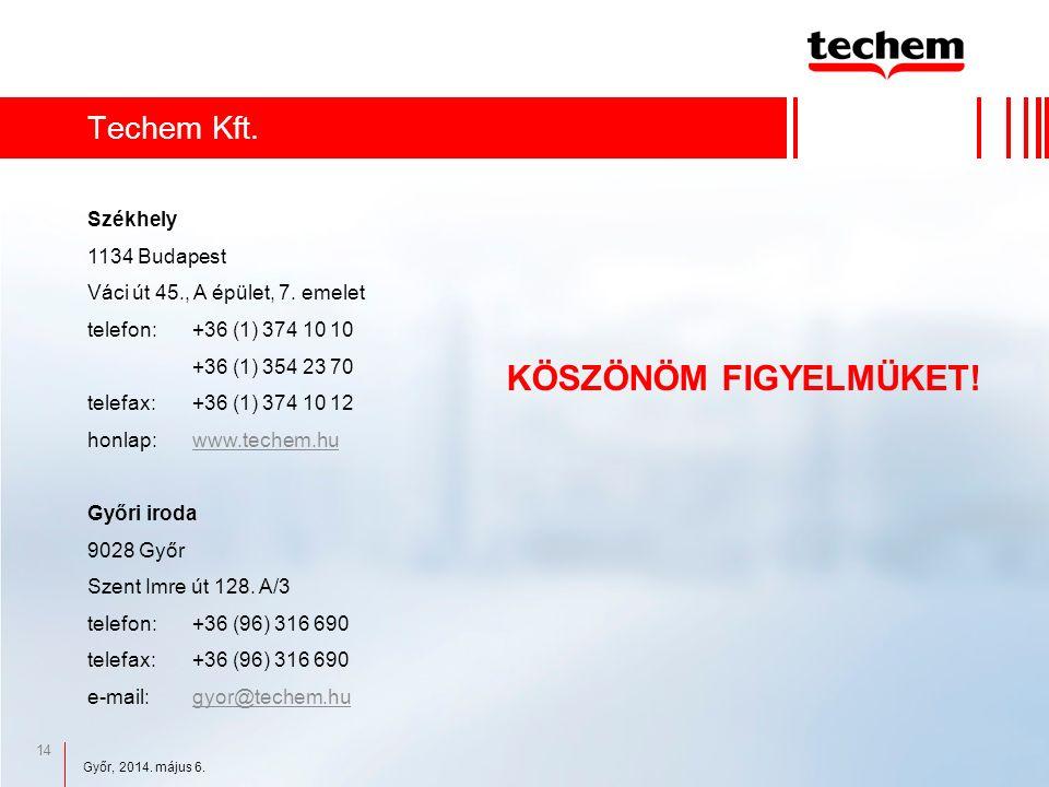 14 Techem Kft. KÖSZÖNÖM FIGYELMÜKET. Székhely 1134 Budapest Váci út 45., A épület, 7.