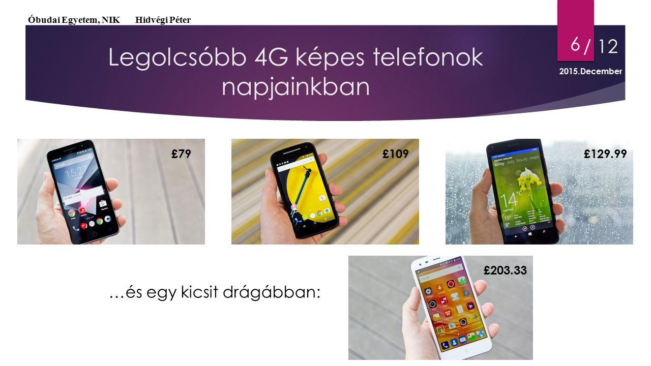 Legolcsóbb 4G képes telefonok napjainkban 6 …és egy kicsit drágábban: £79£109£129.99 £203.33 Óbudai Egyetem, NIK Hidvégi Péter / 12 2015.December