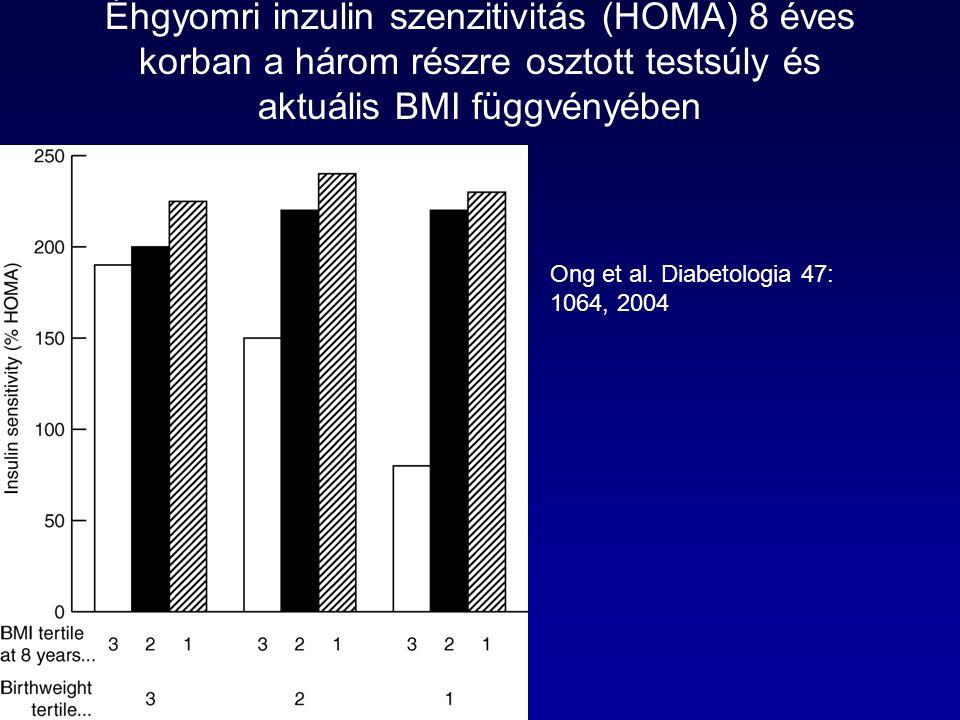 Éhgyomri inzulin szenzitivitás (HOMA) 8 éves korban a három részre osztott testsúly és aktuális BMI függvényében Ong et al.