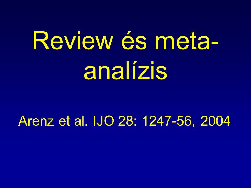 Review és meta- analízis Arenz et al. IJO 28: 1247-56, 2004