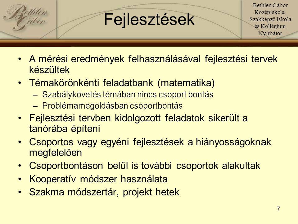 Bethlen Gábor Középiskola, Szakképző Iskola és Kollégium Nyírbátor 8 Fejlesztésre szoruló területek Elsősorban a kommunikáció egyes területeinek fejlesztése: ÍRÁS-OLVASÁS, szövegértés, íráskészség Képességekre irányuló fejlesztési feladatok hozzárendelése 1-1 csoporthoz Idegen nyelv: logika- képrészletek sorrendje; összetett szavak alkotása; szórejtvény; szóalkotás kevert betűkből Pályaorientáció: Megfigyelőképesség, koncentrálás, kézügyesség (párban dolgoznak) Szakmai előkészítő: Szakkifejezések leírása, térlátás rajzzal, logikus gondolkodás számolással Magyar: térlátás, ok-okozati összefüggések, kommunikációs szituációk, kifejezőkészség