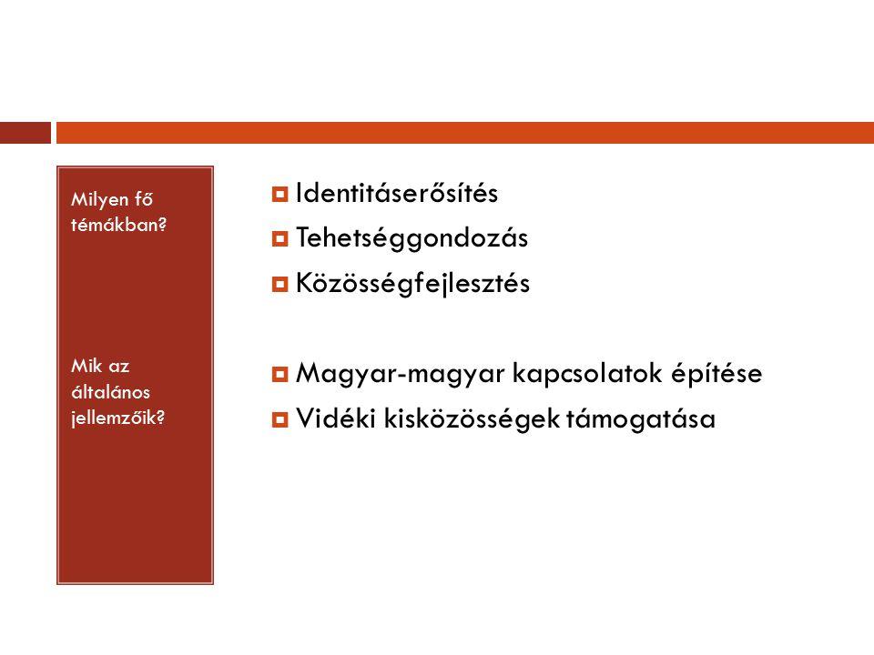 Milyen fő témákban? Mik az általános jellemzőik?  Identitáserősítés  Tehetséggondozás  Közösségfejlesztés  Magyar-magyar kapcsolatok építése  Vid