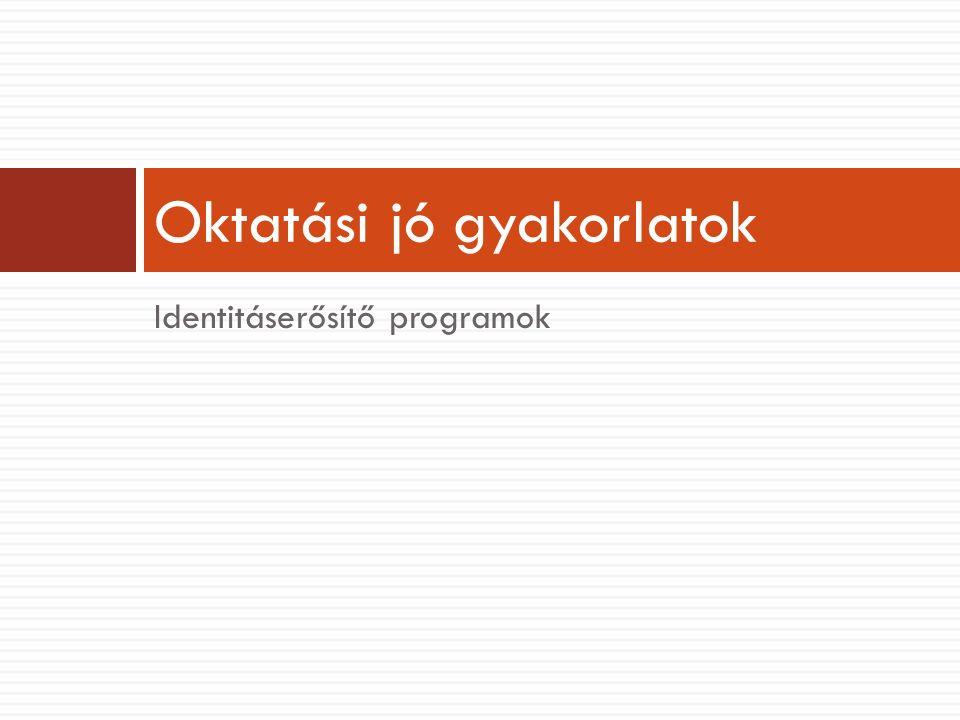 Identitáserősítő programok Oktatási jó gyakorlatok