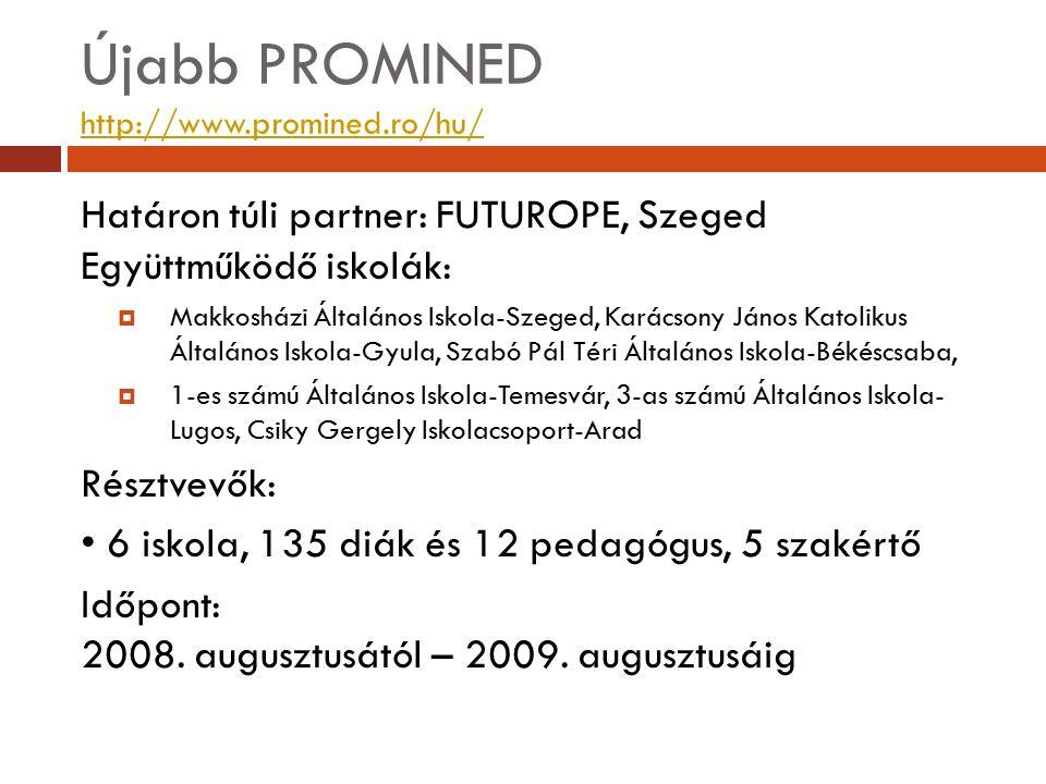 Újabb PROMINED http://www.promined.ro/hu/ http://www.promined.ro/hu/ Határon túli partner: FUTUROPE, Szeged Együttműködő iskolák:  Makkosházi Általán