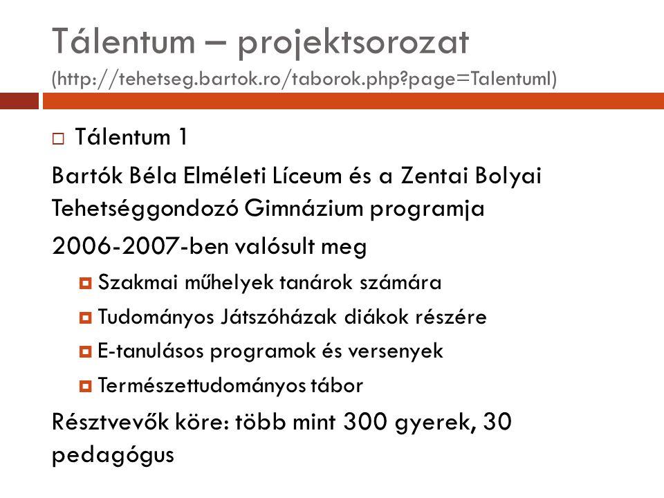 Tálentum – projektsorozat (http://tehetseg.bartok.ro/taborok.php?page=TalentumI)  Tálentum 1 Bartók Béla Elméleti Líceum és a Zentai Bolyai Tehetségg