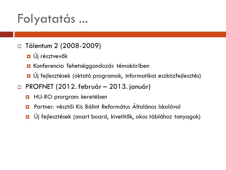 Folyatatás...  Tálentum 2 (2008-2009)  Új résztvevők  Konferencia Tehetséggondozás témakörlben  Új fejlesztések (oktató programok, informatikai es