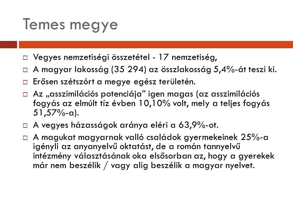 Temes megye  Vegyes nemzetiségi összetétel - 17 nemzetiség,  A magyar lakosság (35 294) az összlakosság 5,4%-át teszi ki.  Erősen szétszórt a megye