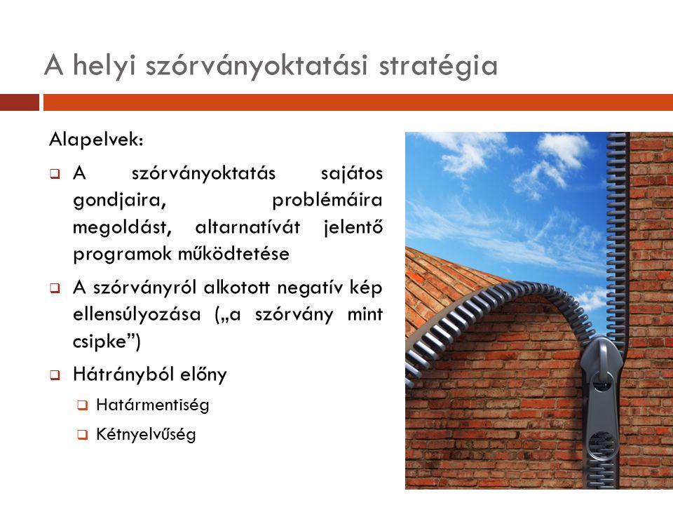 A helyi szórványoktatási stratégia Alapelvek:  A szórványoktatás sajátos gondjaira, problémáira megoldást, altarnatívát jelentő programok működtetése