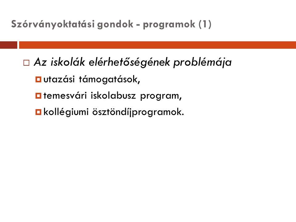 Szórványoktatási gondok - programok (1)  Az iskolák elérhetőségének problémája  utazási támogatások,  temesvári iskolabusz program,  kollégiumi ös