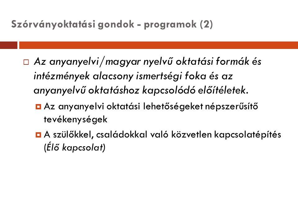 Szórványoktatási gondok - programok (2)  Az anyanyelvi/magyar nyelvű oktatási formák és intézmények alacsony ismertségi foka és az anyanyelvű oktatás